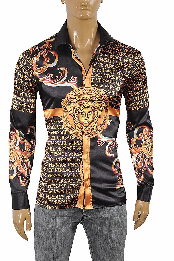5275409ea VERSACE Medusa Men's Dress Shirt Long Sleeve Black and Gold color ...
